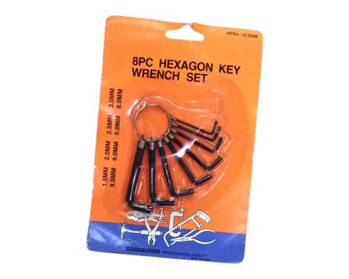 Набор Г-образных шестигранных ключей 8 шт, черные