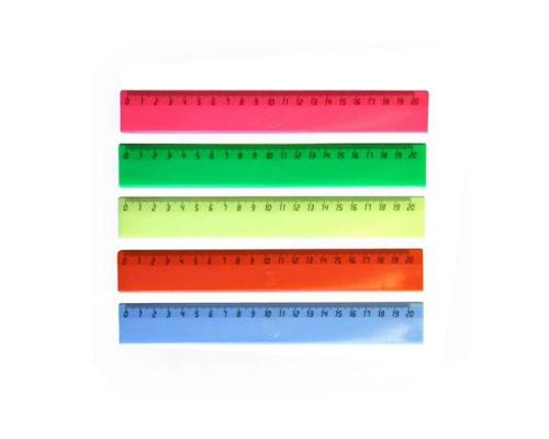 Линейка пластик, цветная, 20 см